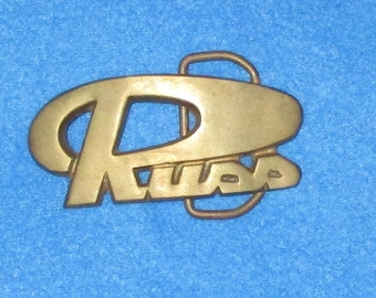 Vintage 1980s RUSS SOLID BRASS Name Belt Buckle Country Hipster Russell
