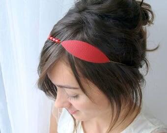 Leaf headband, leaf headpiece, red headband, leather headband, wedding headband, bridesmaid headpiece, wedding headpiece, red headpiece