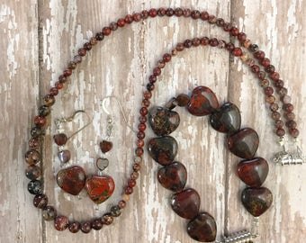 Mahogany Obsidian, jewelry Set, Gemstone necklace, Mahogany Obsidian gemstone necklace, Spiritual jewelry, Handmade jewelry