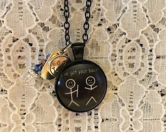 I Got Your Back Charm Pendant Necklace/Stick Figure Charm Pendant/Stick Figure Jewelry/Friend Jewelry/Best Friend Jewelry/Stick People Charm