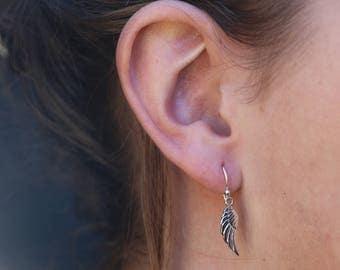 Angel Wing Earrings, Wings Silver Danglers, Drop Earrings , Bridesmaid Gift, Sterling Silver Earrings, Silver Jewelry, Silver Earring