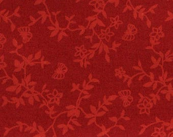 Red floral fabric tone on tone coupon of 160 x 110 cm