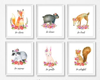 PRINTABLE Woodland Animal Nursery Art, Girl Floral Nursery Prints, Floral Woodland Animals Be Kind Brave Clever Curious Wise Gentle Playful
