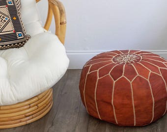 Original Handmade Moroccan Leather Pouf, Moroccan Pouf, Leather Pouf, Ottoman Pouf, Brown Leather Pouf, Round Pouf, Tan Pouf, Ottoman
