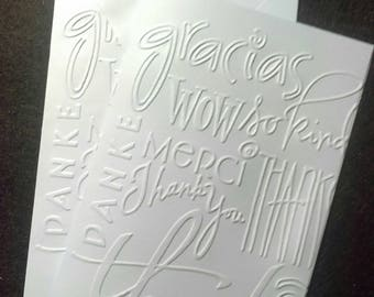 """Set of six blank embossed """"Thank You"""" cards with envelopes"""