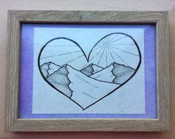 Mountain Sunrise Heart with Polka Dots
