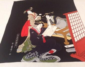Vintage Scarf  / Japanese Chirimen Crepe