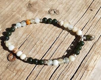 Mala Bracelet//Aquamarine & Jade Gemstones//Wellness Bracelet//Gift for Her//Yoga Gift