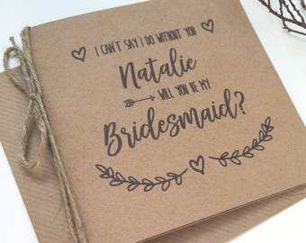 Rustic Personalised Will you be my Bridesmaid Card | Best Man | Maid of Honour | Chief Bridesmaid | Bridesmaid Invitation | Evie Range