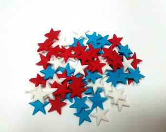 Capitan America style 100 red blue and white stars 1cm Edible fondant