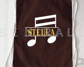 Music Note Drawstring Bag | Personalized Music Bag | Music Note Bag | Music Teacher Gifts | Music Bag | Custom Drawstring Bag
