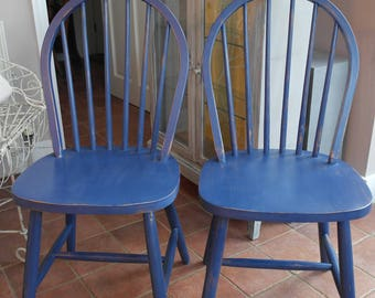 2 Shabby-Chic Spindle Back Farmhouse Chairs, Painted in Distressed Style