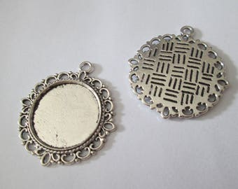 support cabochon 22 mm antique silver pendant