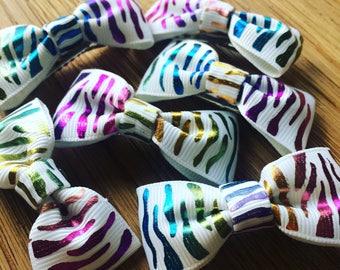 Zebra print multi coloured rainbow hair clips