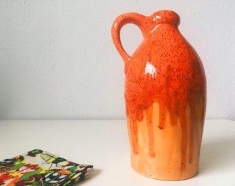 Vintage Ceramic Atomic Orange Drip Glaze Jug with Handle + Handmade Ceramic Orange Vase + Vintage Studio Pottery
