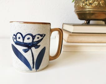 Vintage Stoneware Mug + Blue Floral Motif + Earthy Natural Kitchen + Retro Kitchen + Vintage Coffee Mug