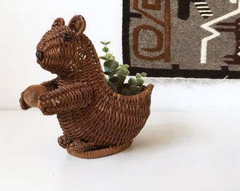 Vintage Wicker Squirrel with Acorn Basket Planter + Brown + Southwest Rustic Folk Animal Decor + Boho Bohemian Jungalow + Air Plant Holder