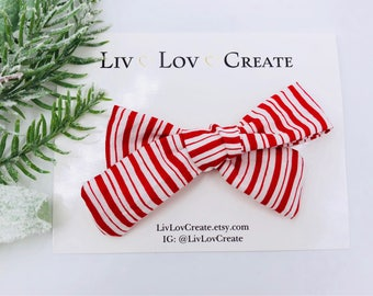 Baby Girl hand tied Bow - Nylon Headbands - Hair clip - Infant / Toddler /  Fabric Hair Bows / Clips - stripes - candy cane red