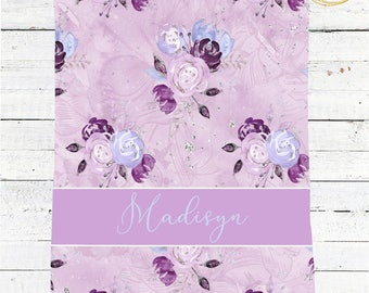 Lavender Baby Blanket / Custom Baby Blanket / Watercolor Floral Blanket / Lavender Baby Shower / Purple Baby Bedding / Glitter Baby Shower