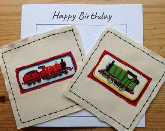 Thomas the Tank train card. Percy birthday card.  James birthday card for boy. Sewn card. Your words can be printe at the top of the card.