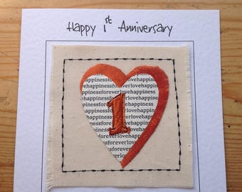 1st wedding anniversary card. First Paper anniversary card. 1st Anniversary card for husband or wife, son or daughter. Sewn card