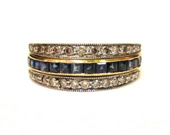 Sapphire, Emerald, Diamond, 18K & Sterling Flip Ring - X2938