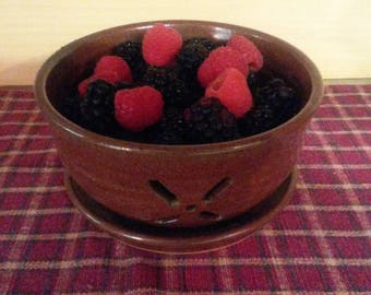 Iron red pottery berry bowl,  pottery berry bowl, ceramic berry bowl, pottery collander, ceramic collander,  pottery bowl