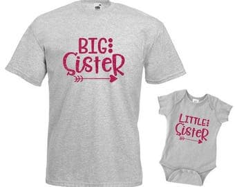 Big Sister Little Sister Matching set in glitter, matching shirt set, sister matching shirts