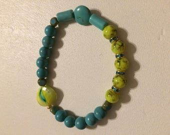 Bracelet puck lime turquoise round beads and lime