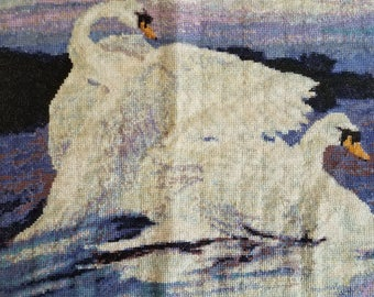 swans on lake cross stitch