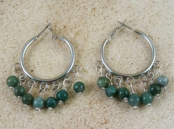 African jade hoops, hoop earrings, jade earrings, green theme jewelry, gemstone jewelry, semi precious stone, stone earrings, stone hoops