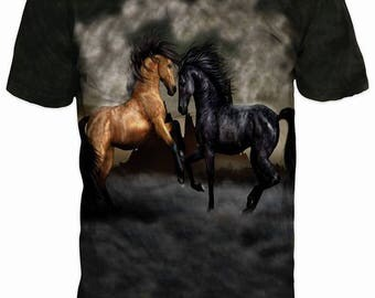 New ultramodern 3D  High Quality  Print Horse Mustang Real Nature short Sleeve t-shirt