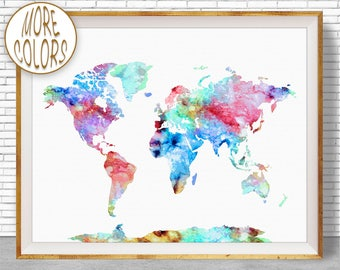 World Painting World Map Print World Print World Map Poster Office Prints Office Art Travel Poster Travel Art Prints ArtPrintZone