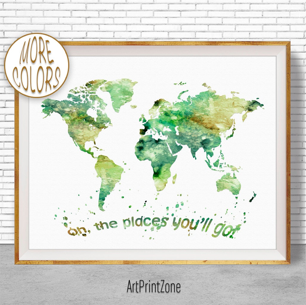 Oh the places youll go world map print world map poster wall art oh the places youll go world map print world map poster wall art nursery wall art nursery decor nursery art artprintzonegift for women gumiabroncs Images