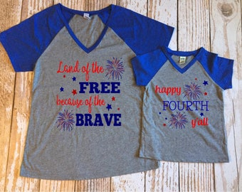 Land of the Free because of the Brave MOM Shirt