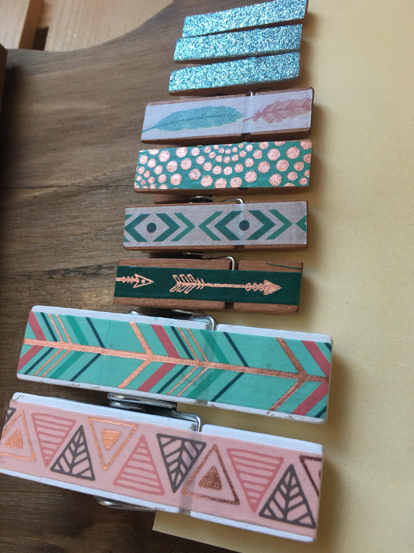Boho Clothespin Set Bohemian Home Decor Cute Desk Supplies