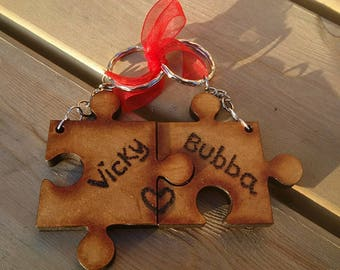 Keyring Set - Jigsaw Piece - Personalise - Gift - Couples, Best friends, Family - Presented Tied With Ribbon and in Black Velvet Pouch