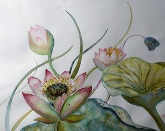 Painting Contemporary Art Original botanical watercolor, painting the large lotus Cyane
