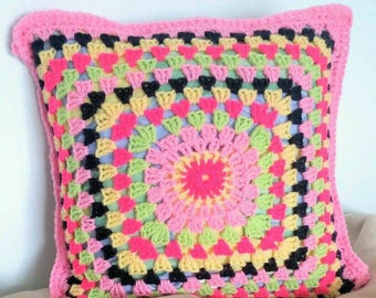 "Tooty- Fruity Pink. Handmade crocheted cushion. 16"" x 16"""