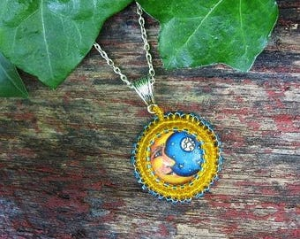 Beaded man in the moon cabochon pendant necklace, moon necklace, bead embroidery pendant, beaded cabochon