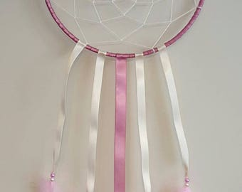 Pink and cream dream catcher handmade