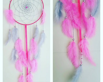 Dream catcher 20cm pink and gray