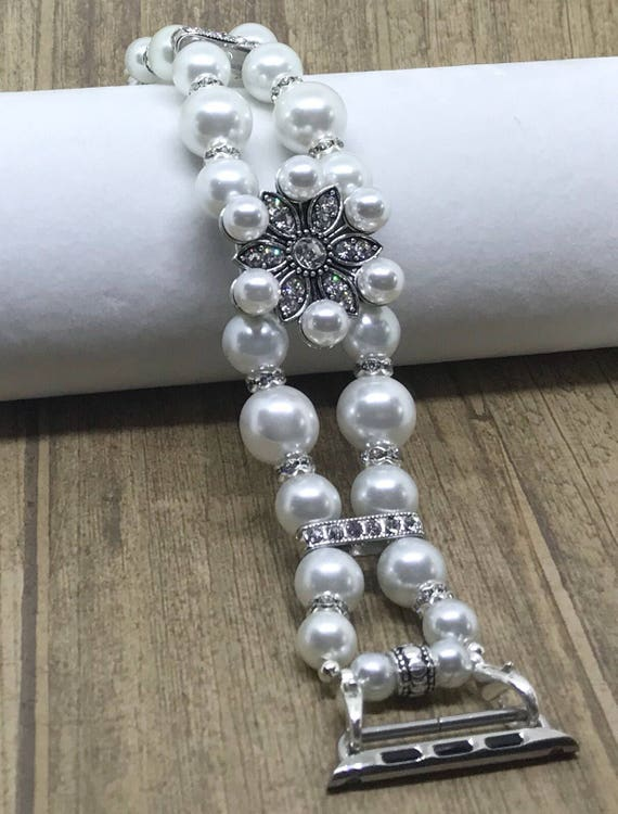 Apple Watch Band, Women Bead Bracelet Watch Band, iWatch Strap, Apple Watch 38mm, Apple Watch 42mm, White Faux Pearl Swarovski Size 7 1/4