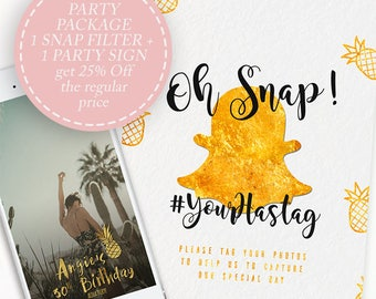 Party Package, Custom Snapchat Filter + Custom Sign Printable, Snapchat Geofilter Birthday, Wedding Snapchat Filter, Bachelorette Party