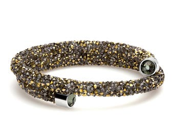 Crystal Dust Crystal Cuff Wrap Gold and black Bypass Bracelet with Swarovski Elements in Stainless Steel