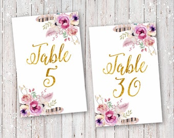 Instant Download Floral Feathers Boho Bohemian Wedding Bridal Shower Table Numbers Digital Printable