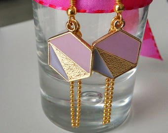 Earrings color pastels and chain charm bead