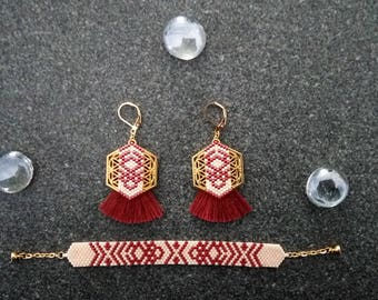 Set earrings and bracelet