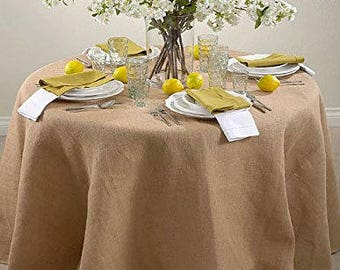 60-Inch Round Jute Burlap Round Table Overlay Table Cover, Rustic Tablecloth, Hessian Table Cloth