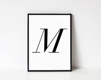 Scandinavian Printable Letter Print, Letter M, Black and White Typography Art
